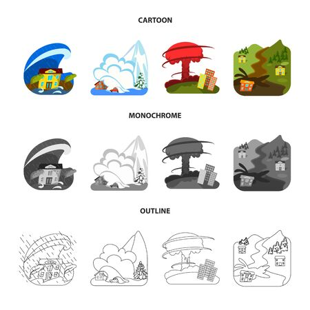Vector design of weather and distress symbol. Collection of weather and crash stock vector illustration.