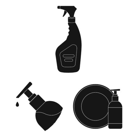 Isolated object of sprayer and liquid . Set of sprayer and pesticide bitmap icon for stock. Stock Photo