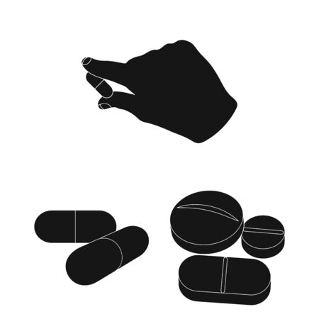 Isolated object of pill and medicine icon. Set of pill and vitamin bitmap icon for stock.