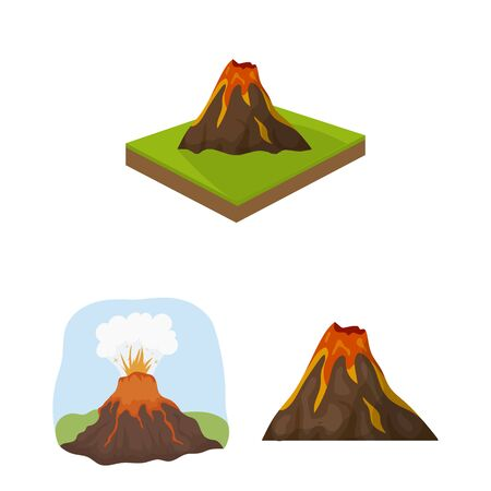 bitmap illustration of volcano and lava symbol. Set of volcano and magma stock symbol for web.