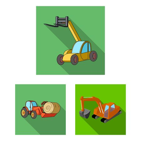 bitmap design of front and excavator sign. Set of front and bucket bitmap icon for stock.