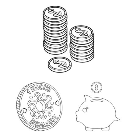 bitmap design of coin and treasure icon. Set of coin and money stock bitmap illustration.