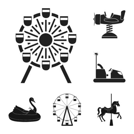 Isolated object of fun and horse sign. Set of fun and circus stock bitmap illustration.