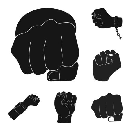 bitmap illustration of fist and punch icon. Collection of fist and hand stock symbol for web.