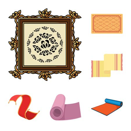 bitmap illustration of carpet and persian sign. Collection of carpet and border stock bitmap illustration.
