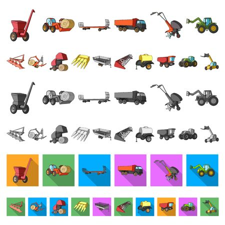 Agricultural machinery cartoon icons in set collection for design. Equipment and device bitmap symbol stock web illustration. Stockfoto