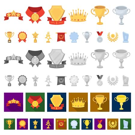 Awards and trophies cartoon icons in set collection for design.Reward and achievement bitmap symbol stock web illustration.