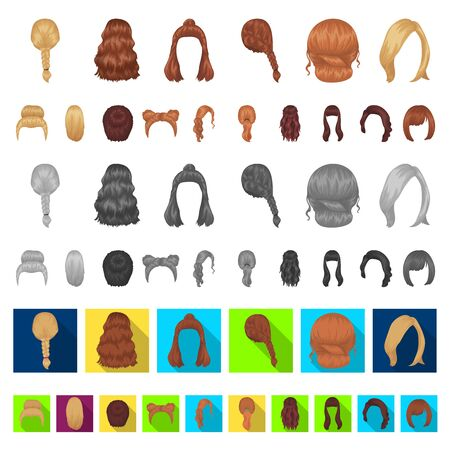 Female hairstyle cartoon icons in set collection for design. Stylish haircut bitmap symbol stock web illustration.