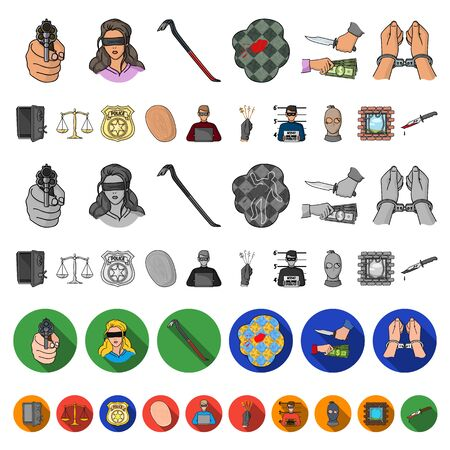 Crime and Punishment cartoon icons in set collection for design.Criminal bitmap symbol stock web illustration.