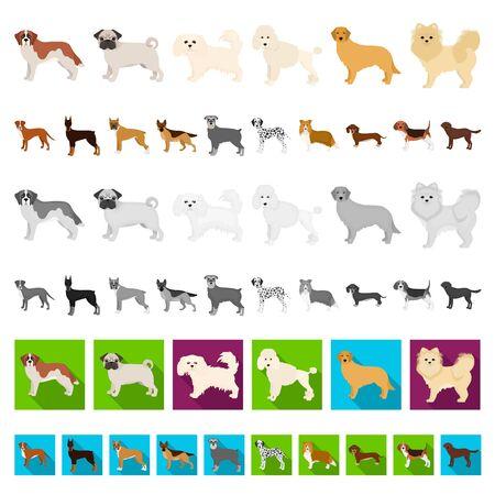 Dog breeds cartoon icons in set collection for design.Dog pet bitmap symbol stock web illustration.