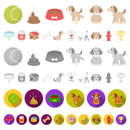 Pet dog cartoon icons in set collection for design. Caring for the puppy bitmap symbol stock web illustration. Banco de Imagens