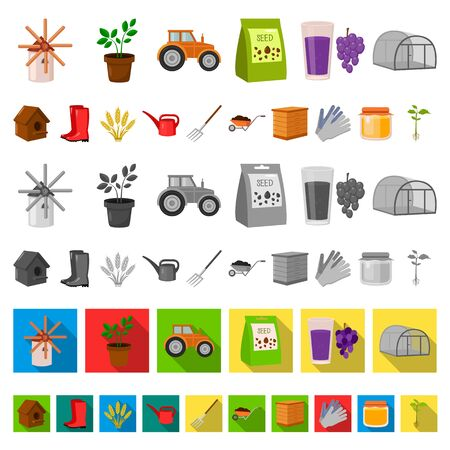 Farm and gardening cartoon icons in set collection for design. Farm and equipment bitmap symbol stock web illustration. Stockfoto