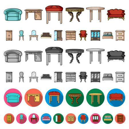 Furniture and interior cartoon icons in set collection for design.Home furniture bitmap symbol stock web illustration.