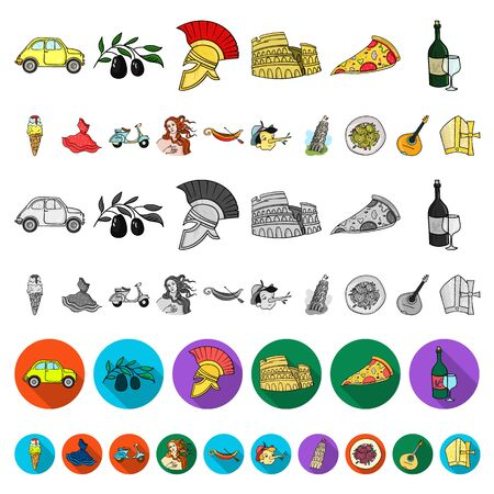 Country Italy cartoon icons in set collection for design. Italy and landmark bitmap symbol stock web illustration. Фото со стока