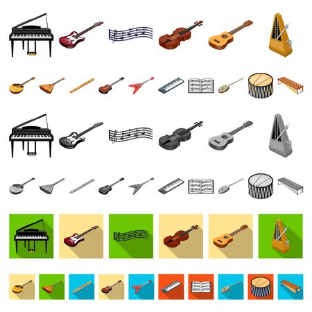 Musical instrument cartoon icons in set collection for design. String and Wind instrument isometric bitmap symbol stock web illustration.