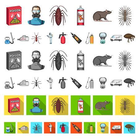 Pest, poison, personnel and equipment cartoon icons in set collection for design. Pest control service bitmap symbol stock web illustration. Foto de archivo