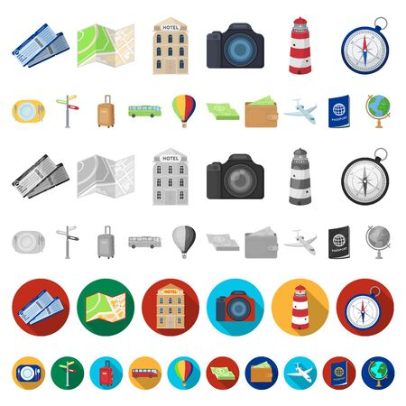 Rest and travel cartoon icons in set collection for design. Transport, tourism bitmap symbol stock web illustration. Zdjęcie Seryjne