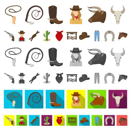 Rodeo, competition cartoon icons in set collection for design. Cowboy and equipment bitmap symbol stock web illustration. Reklamní fotografie