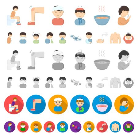 The sick man cartoon icons in set collection for design. Illness and treatment bitmap symbol stock web illustration. Stock Photo