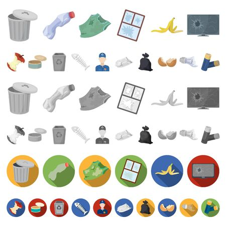 Garbage and waste cartoon icons in set collection for design. Cleaning garbage bitmap symbol stock web illustration. 스톡 콘텐츠 - 127229049