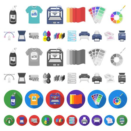 Typographical products cartoon icons in set collection for design. Printing and equipment bitmap symbol stock web illustration.