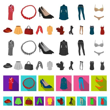 Women s Clothing cartoon icons in set collection for design.Clothing Varieties and Accessories bitmap symbol stock web illustration.