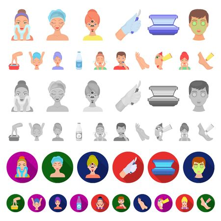Skin care cartoon icons in set collection for design. Face and body bitmap symbol stock web illustration.