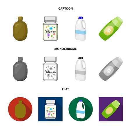 Isolated object of plastic and container sign. Set of plastic and packaging vector icon for stock. Çizim