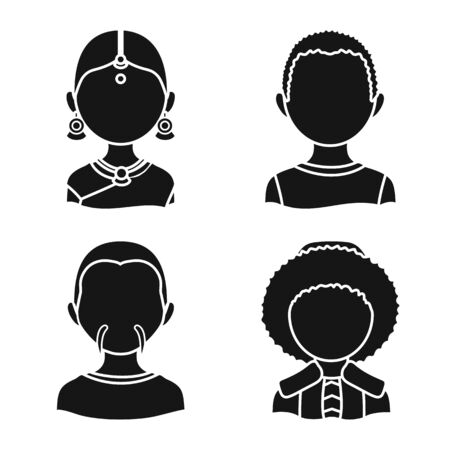 Vector illustration of person and culture symbol. Set of person and race stock vector illustration. Ilustrace