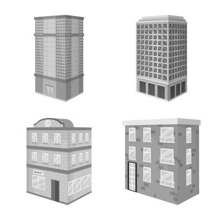Vector design of realty and modern. Collection of realty and building stock symbol for web.