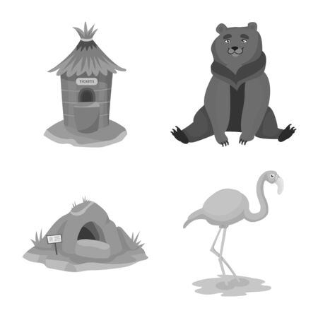 Isolated object of zoo and park symbol. Set of zoo and animal vector icon for stock.
