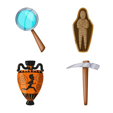 Vector design of archaeology and historical. Collection of archaeology and excavation vector icon for stock.