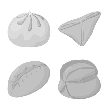 Isolated object of dumplings and stuffed icon. Set of dumplings and dish stock vector illustration.