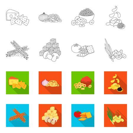 Vector illustration of taste and seasonin symbol. Set of taste and organic vector icon for stock. Vettoriali