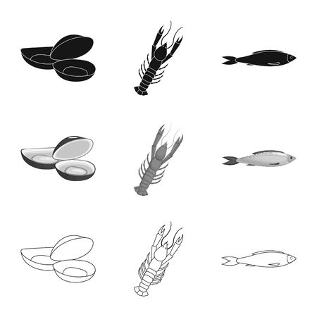 Isolated object of fresh and restaurant symbol. Collection of fresh and marine vector icon for stock.