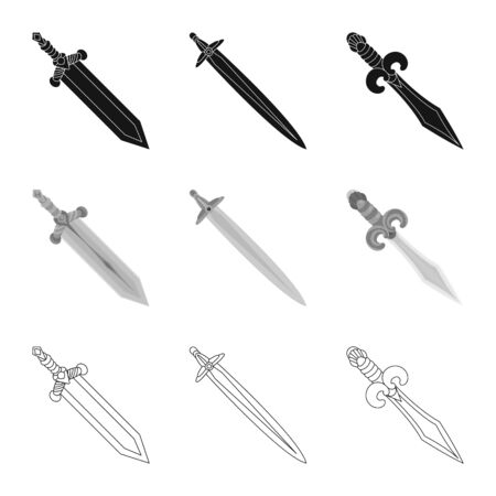 Vector design of game and armor sign. Set of game and blade stock vector illustration.
