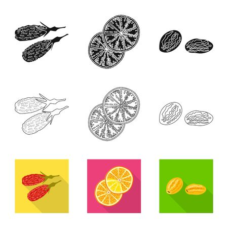 Vector illustration of food and raw. Set of food and nature vector icon for stock.