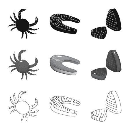 Isolated object of fresh and restaurant symbol. Set of fresh and marine stock vector illustration. Illustration