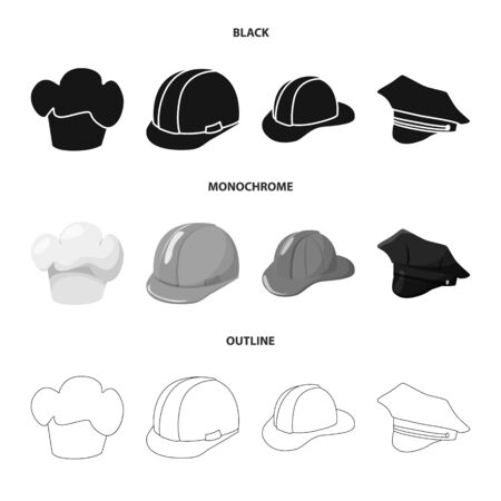 Vector illustration of clothing and cap. Set of clothing and beret stock vector illustration.