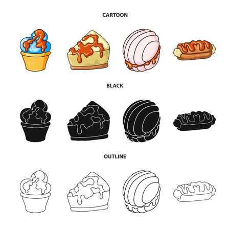 Vector design of confectionery and culinary sign. Set of confectionery and product stock vector illustration.