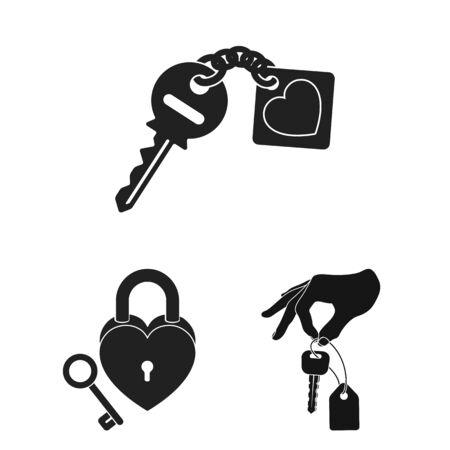 bitmap illustration of key and protection symbol. Collection of key and security bitmap icon for stock. Stock Photo