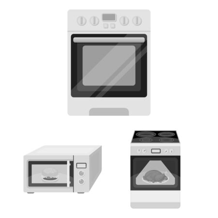 Isolated object of food and inside symbol. Collection of food and cooker bitmap icon for stock.