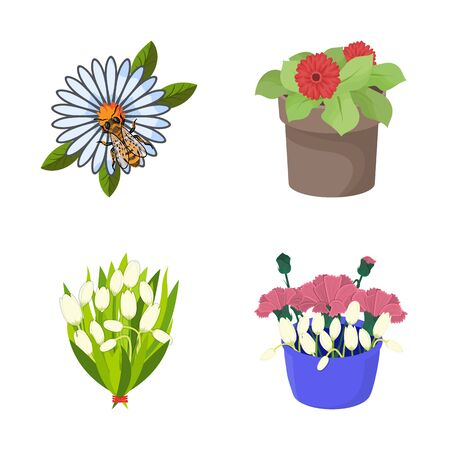 bitmap illustration of spring    . Set of spring and blossom stock symbol for web.