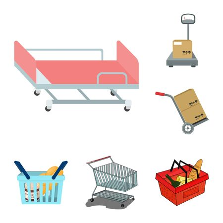 Isolated object of basket and wicker symbol. Collection of basket and market bitmap icon for stock.