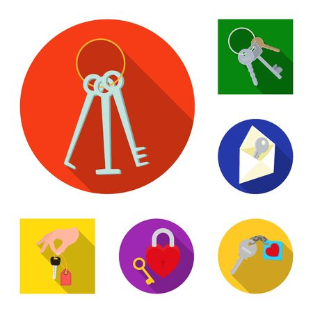 Isolated object of key and protection icon. Collection of key and security stock bitmap illustration. Stock Photo