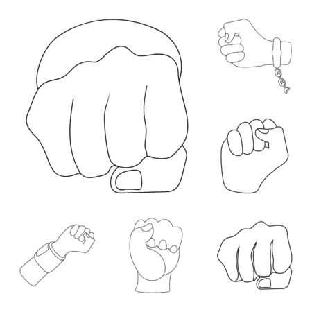 bitmap illustration of fist and punch icon. Set of fist and hand bitmap icon for stock.