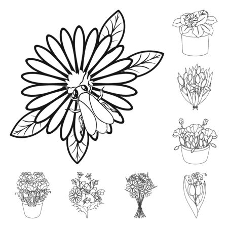bitmap illustration of spring and wreath symbol. Set of spring and blossom stock bitmap illustration. Stock Photo