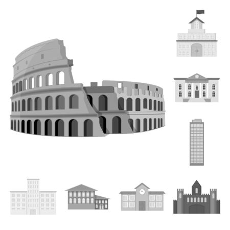 bitmap illustration of building and city icon. Set of building and business stock symbol for web.