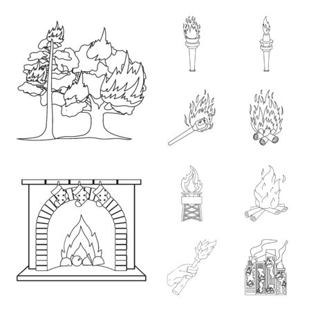 bitmap design of fire and flame symbol. Collection of fire and fireball stock bitmap illustration. Stock Photo