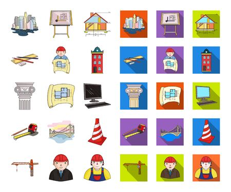 Architecture and construction cartoon,flat icons in set collection for design. Architect and equipment bitmap symbol stock web illustration.